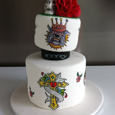 Handpainted Cake In Ed Hardy Theme