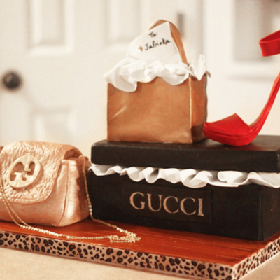 Gucci Cake All Edible Minus The Handles Purse Chain And Shoebox Lid