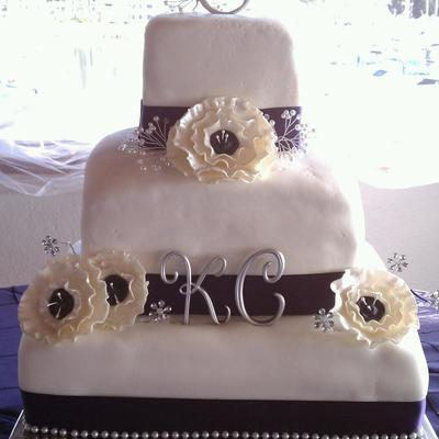 Square Purple And Silver Wedding Cake