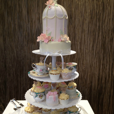 Bird Cage Themed Cupcake Tower