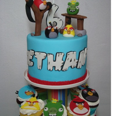 We Celebrated My Grandson Ethans 6Th Birthday Yesterday With An Angry Birds Themed Party 6 Topper Cake With 50 Chocolate And Chocolate Ch