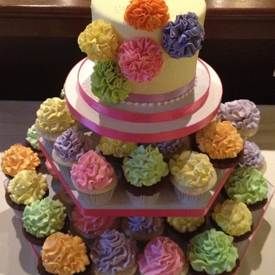 Pom Pom Bridal Shower Cupcake Tower