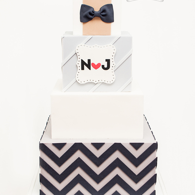 Geometric Square Chevron Wedding Cake