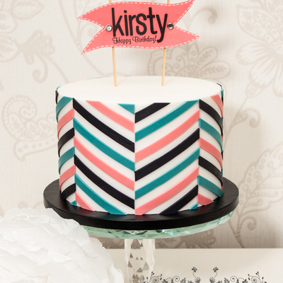 Offset Chevron Birthday Cake