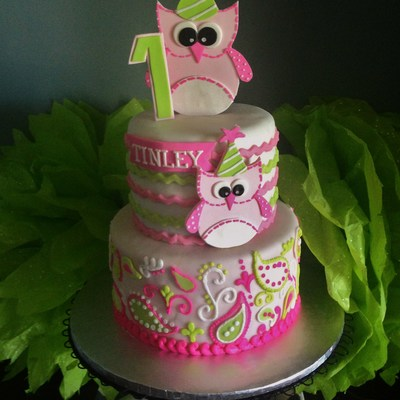 Owl 1St Birthday Cake Fondant With Piped Buttercream Paisley Owls Are Gumpaste