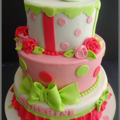 Pink And Green Ruffle Baby Shower Cake