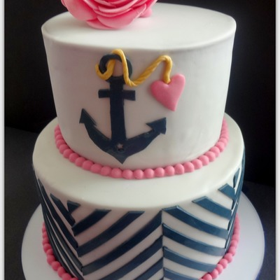 Navy And Pink Bridal Shower Cake