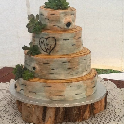 Rustic Birch Bark Wedding Cake