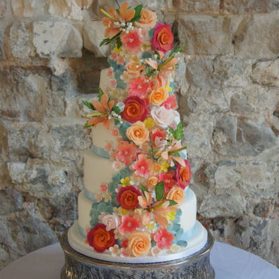 5 Tier Coral Sugar Flowers Wedding Cake on Cake Central