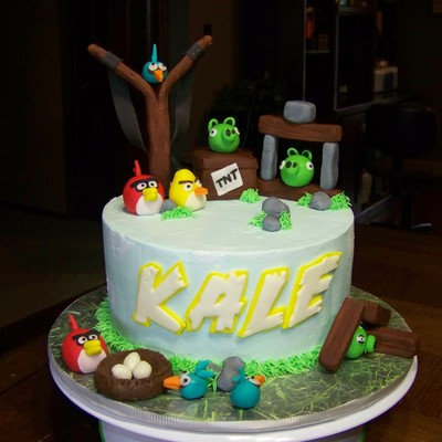 Angry Birds Cake For My Grandson Marble Cake With Smbc He Colored And Made The Rocks For His Cake