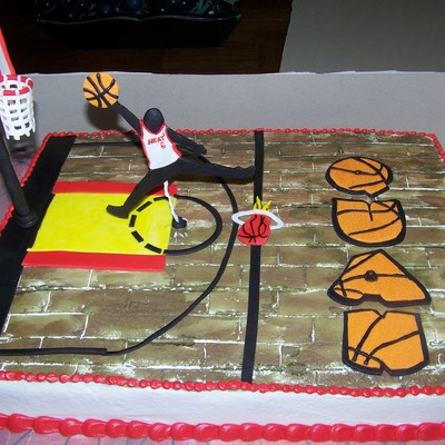 Cake For A 10 Year Olds Birthday Exactly As He Described It To Me Lol He Is A Miami Heat Lebron James Fan And Wanted The Jumpman In His