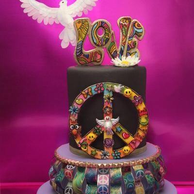 Retro Birthday Cake Word Love And Peace Symbol Made Of Pastillage Paste And Hand Painted The Decoration Of The Bottom Cake And Dove Are Ma...
