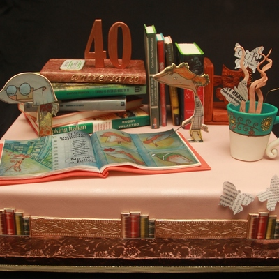 Cake Made For The 40Th Anniversary Of A Library All The Elements Are Edible Made With Pastillage Paste Gumpaste And Rice Paper Designs