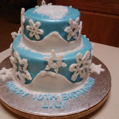 Disney Frozen Pearl Airbrushed Fondant Cake With Fondant Sugar Crystal Coated Snowflakes Customer Added Her Own Figures