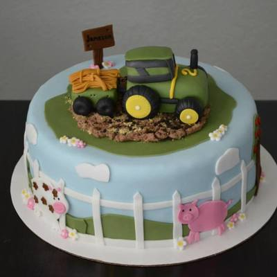 Tractor Cake Chocolate Cake With Oreo Buttercream Fillingfrosting All The Decorations Are Fondant The Mud Is Chocolate Buttercream With