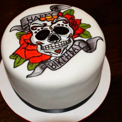 Hand Painted Sugar Skull Tattoo Cake