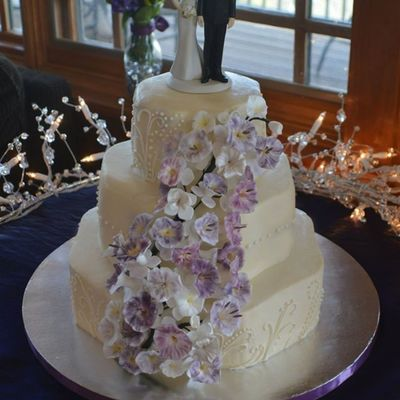 Purple Wildflower Wedding Cake