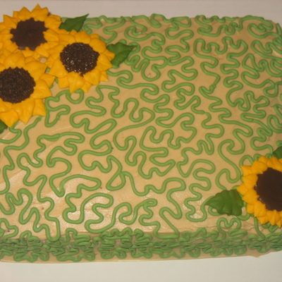 Cornelli Lace With Royal Icing Sunflowers