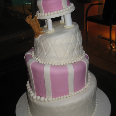 Pink And White Topsy Turvy/leaning Cake