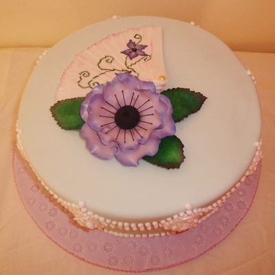 Anemone And Fan Birthday Cake