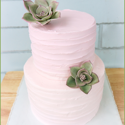 Rustic Buttercream With Succulents