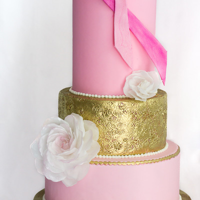 Breast Cancer Awareness Wedding Cake