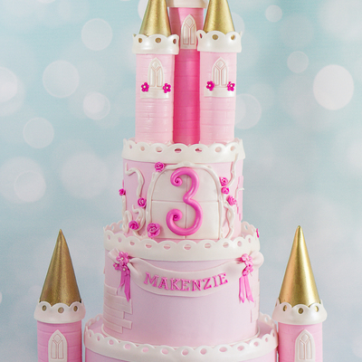 Pink And Gold Princess Castle Cake