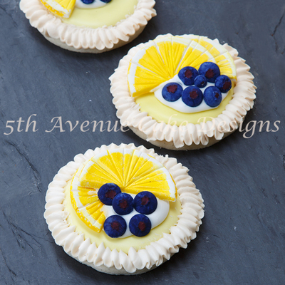 Lemon Meringue Cookies With Royal Icing Blueberries Meringue And Lemon Slices