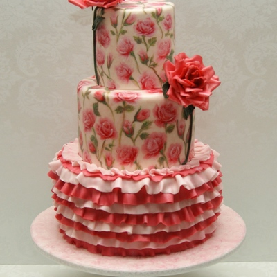 My Hand-Painted Rose And Ruffle Cake