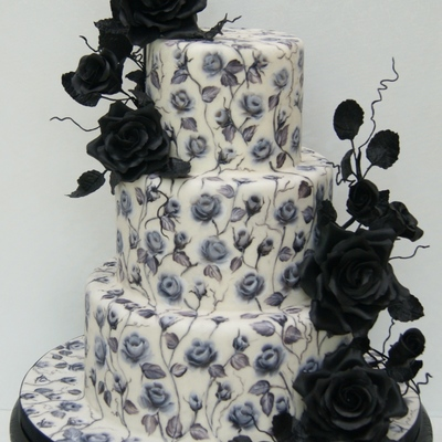 Black Roses - A Hand-Painted Cake