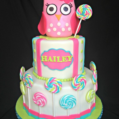 Babys First Birthday Pink Baby Owl Cake