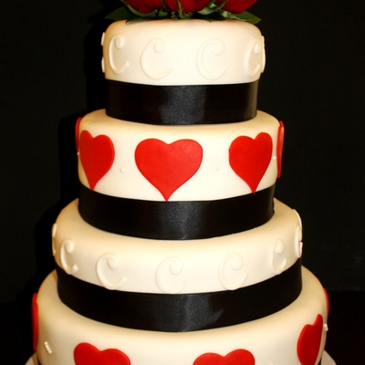 Red, Black, And White Heart Wedding Cake