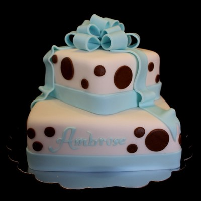 Brown And Teal Babyshower Cake