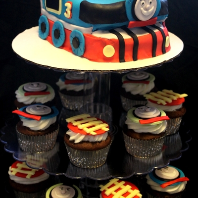 Thomas The Train Carved Cake, And Cupcakes