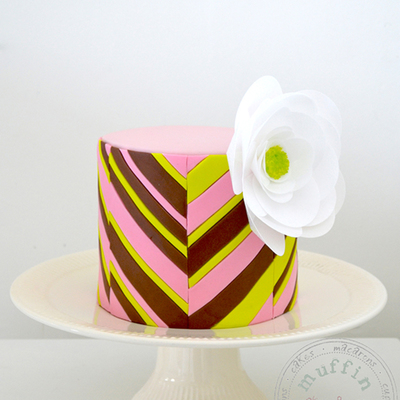 Chevron Cake With Wafer Paper Flower