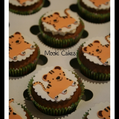 Tiger And Elephant Cupcakes For Twins