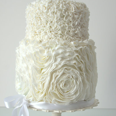 Ruffle Rose And Pompom Wedding Cake on Cake Central