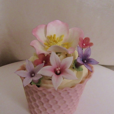 Heres My Pink Floral Cupcake For The Cupcake Challenge The Cupcake Cover Is Modeling Chocolate Bc Frosting And Fondantgumpaste Flowers