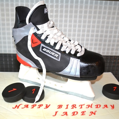 This Is The Hockey Skate Cake I Made This Weekend The Base For The Structure Was A Bit Tricky To Make So The Skate Would Stand The Lucky on Cake Central
