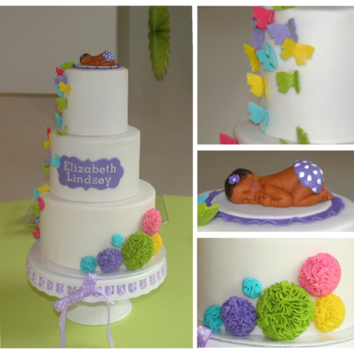 Colorful Butterfly & Pom Pom Baby Shower Cake