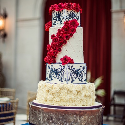 Red Roses And Flow Blue Piping Custom Wedding Cake