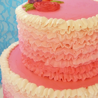 Pink Ruffle Piped Buttercream Cake