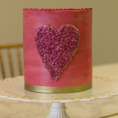 Valentine's Day Sequin Heart Watercolor Cake
