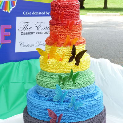 2013 Gay Pride Festival Wedding Cake For Columbus Ohio 7 Tier Graduated Ruffle Cake In Rainbow Buttercream Adorned With Isomalt Butterflie...