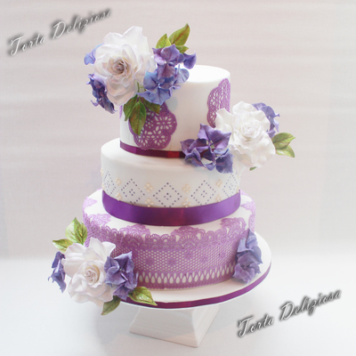 Purple Lace Wedding Cake