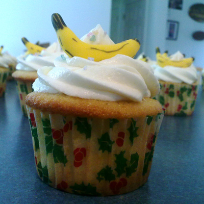White Velvet Banana Cupcakes - Take 2