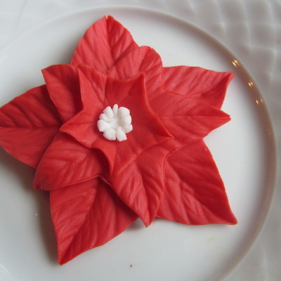 Poinsettia Fondant Cupcake Topper on Cake Central