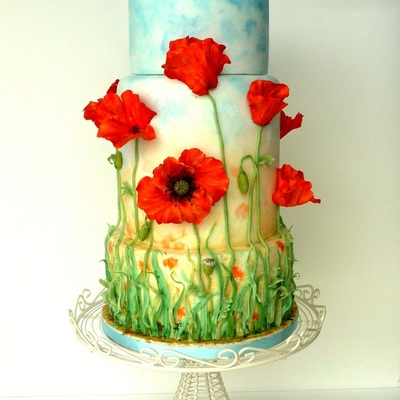 Poppy Field Wedding Cake
