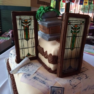 Prairie Style Architect Frank Lloyd Wright Themed Cake Windows Are Poured Sugar And Fondant And Floor Plans Are Frosting Sheets on Cake Central