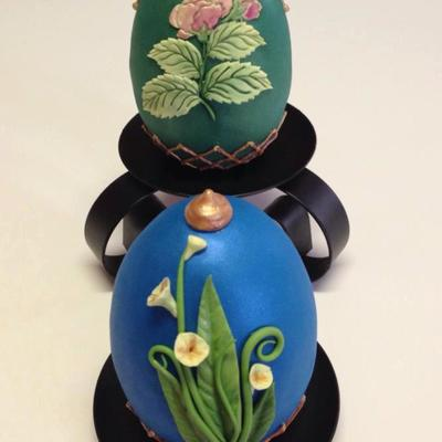 Spring Themed Faberge Egg Eggs Are Made Out Of Rkt I Molded Into A Silicone Mold Covered With Modeling Chocolate Final Covering Was Do